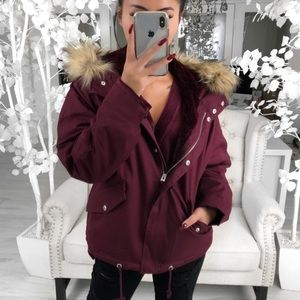 River Hooded Parka Coat in Cranberry Faux Fur